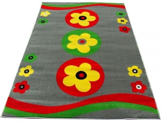 9ab727204e57 Kusový koberec dětský JE0050 - Kytičky na šedé