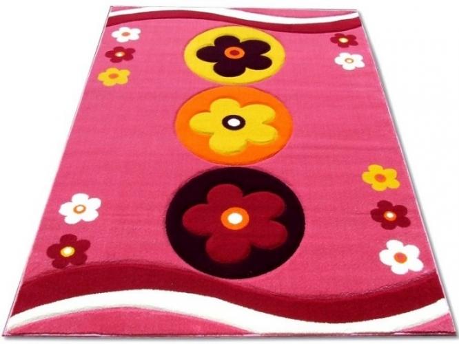 8d780b295c75 Kusový koberec dětský JE0070 - Kytičky na růžové
